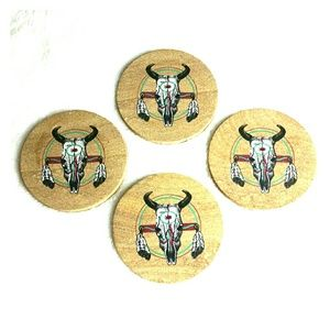 Tile Coaster Set Southwest Boho Bull Skull